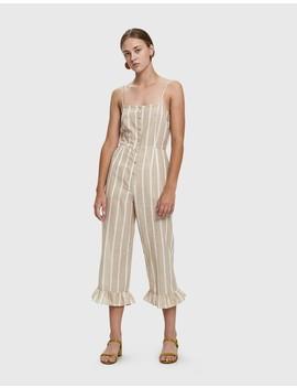 Jaime Striped Cotton Jumpsuit by Farrow