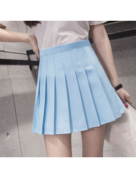 Women Lady Cute Thin High Waist Plain Skater Flared Pleated Short Mini Skirt by Ebay Seller