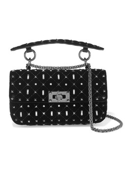 Valentino Garavani The Rockstud Spike Small Quilted Velvet Shoulder Bag by Valentino