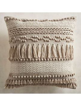Textured Fringed Taupe Pillow by Pier1 Imports