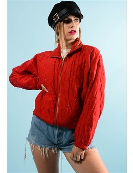 Retro Red Quilted Shell Jacket by Best Days Vintage