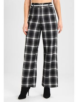 Check Tie Waist Wide Leg Trousers    Broek by Missguided