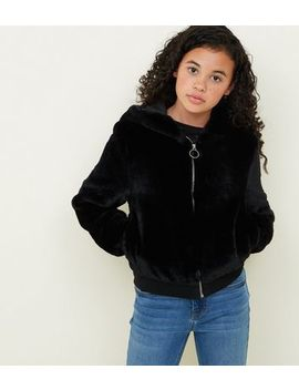 Girls Black Faux Fur Hooded Bomber Jacket by New Look