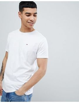 Tommy Jeans Crew Neck T Shirt In White by Tommy Jeans