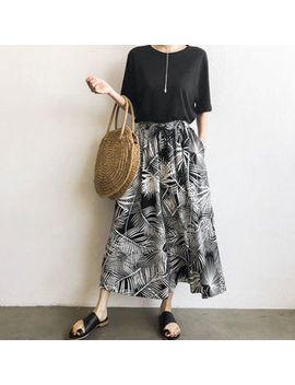 Drawcord Waist Foliage Maxi Culottes by Naning9