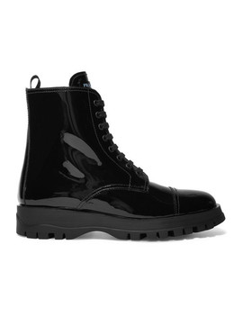 Lace Up Patent Leather Ankle Boots by Prada