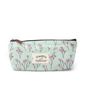 Sanwood Elegant Canvas Pastorable Floral Pen Pencil Pouch With Zipper Closure,Light Blue And Pink by Amazon