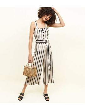 Brown Stripe Button Through Jumpsuit by New Look