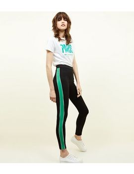 Black And Green Side Stripe Leggings by New Look