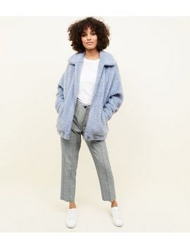 Pale Blue Teddy Faux Fur Bomber Jacket by New Look