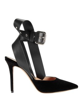 Buckle Ankle Strap Velvet Pumps by Monse