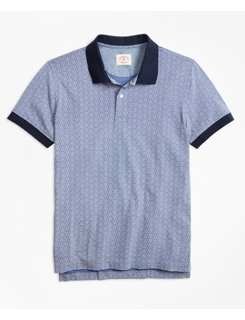 Floral Print Cotton Jersey Polo Shirt by Brooks Brothers
