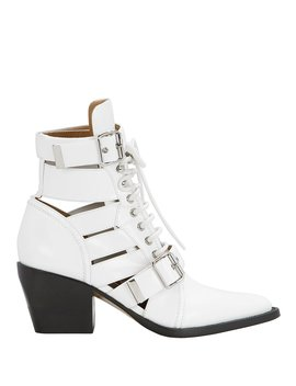 Rylee Cutout White Ankle Boots by Chloé