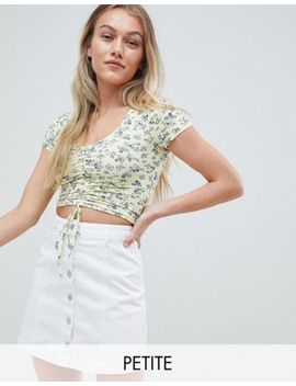 New Look Petite Floral Ruched Front Top by New Look Petite