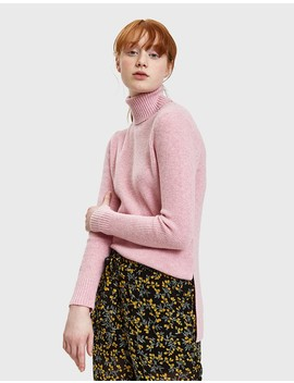Mercer Knit Rollneck Sweater In Sea Pink by Ganni