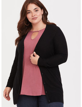 Black Slub Boyfriend Cardigan by Torrid