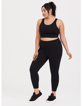 Black Mid Rise Cropped Active Legging by Torrid
