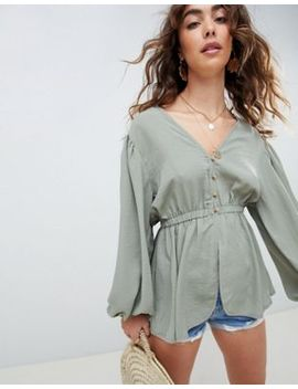 Asos Design Plunge Top With Kimono Sleeve And Button Detail by Asos Design