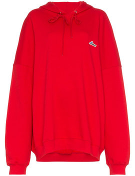Oversized Logo Patch Cotton Hoodie by We11done