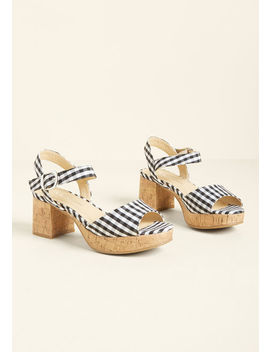 Parading Patterns Block Heel In Gingham by Modcloth