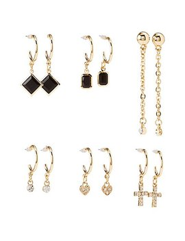 Embellished Cascading Hoop &Amp; Drop Earrings   6 Pack by Charlotte Russe