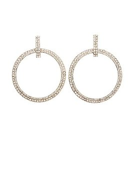 Rhinestone Hoop Earrings by Charlotte Russe