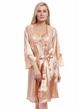 Bellis Mira Women's Satin Robe Silk Dressing Gown Lace Pyjamas Long Nightdress Sexy Ladies Bathrobe Sleep Slip Kimono (Robe Only) by Amazon