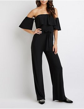 Ruffle Off The Shoulder Jumpsuit by Charlotte Russe