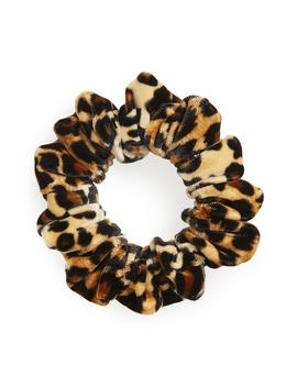 Leopard Print Velour Scrunchie by Tasha