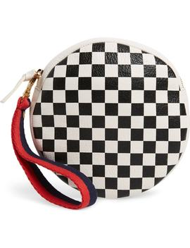 Checkered Leather Circle Clutch by Clare V.