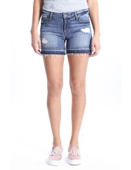 Distressed Release Hem Denim Shorts by Kut From The Kloth