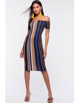 Mona Stripe Bodycon Dress by A'gaci