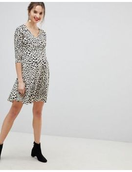 Asos Design Maternity Nursing Wrap Dress In Animal Print by Asos Design