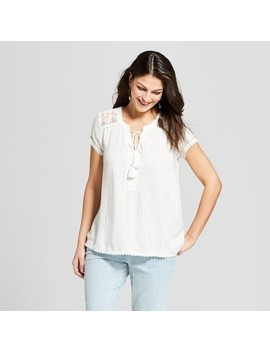 Women's Short Sleeve Embroidered Textured Top   Knox Rose™ White by Knox Rose™