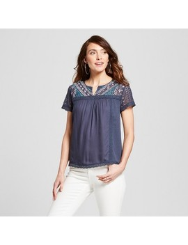 Women's Embroidered Lace Sleeve Top   Knox Rose™ Slate Blue by Knox Rose™