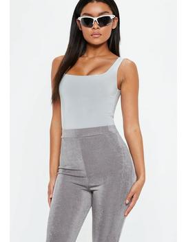 Silver Disco Square Neck Bodysuit by Missguided