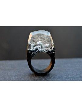 Gift For Men Resin Wood Ring Secret World In Wooden Rings Epoxy Wood Ring Terrarium Ring Gift For Women Terrarium Wooden Ring Mountain Ring by Etsy