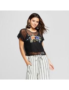 Women's Short Sleeve Embroidered Mesh Top   Xhilaration™ by Xhilaration™