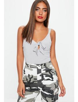 Grey Knot Front Bodysuit by Missguided