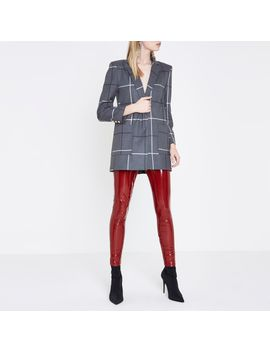 Red High Shine Vinyl Skinny Trousers by River Island