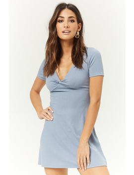 Ribbed Twist Front Mini Skater Dress by Forever 21