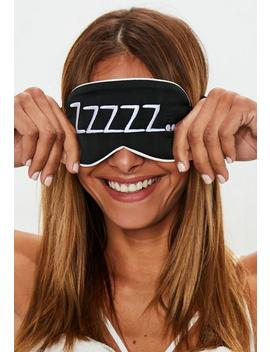 Black Zzz Satin Eye Mask by Missguided