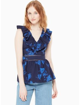 Hibiscus Ruffle Neck Top by Kate Spade