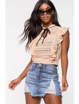 Ruffle Lace Tie Neck Top by A'gaci