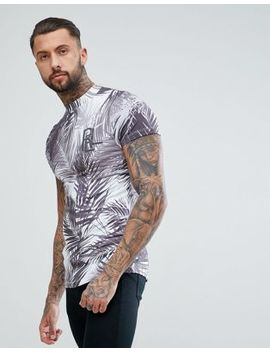 Religion Muscle Fit High Neck T Shirt In Blue With Palm Print by Religion