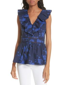 Hibiscus Ruffle Neck Cotton Blouse by Kate Spade New York