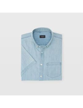 Slim Short Sleeve Denim Shirt by Club Monaco