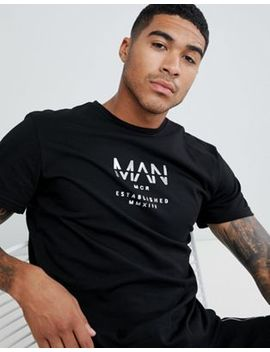 Boohoo Man T Shirt With Metallic Print In Black by Boohoo Man