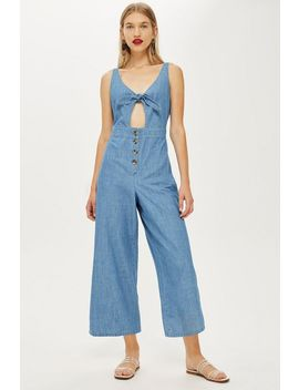 Tie Front Denim Jumpsuit by Topshop