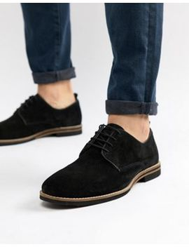 Asos Design Lace Up Shoes In Black Suede With Contrast Sole by Asos Design